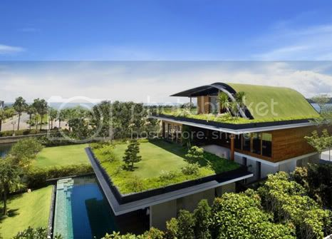 amazing villa Freshome 02 Meera House: a house in singapore with green roof and transparent swimming pool