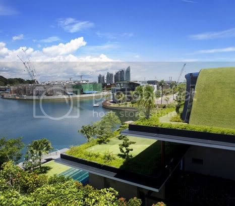 amazing villa Freshome 03 Meera House: a house in singapore with green roof and transparent swimming pool
