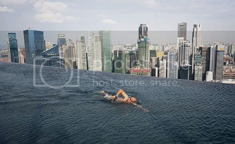 Marina Bay Sands Hotel in Singapore with the highest swimming pool at an elevation of 200 m